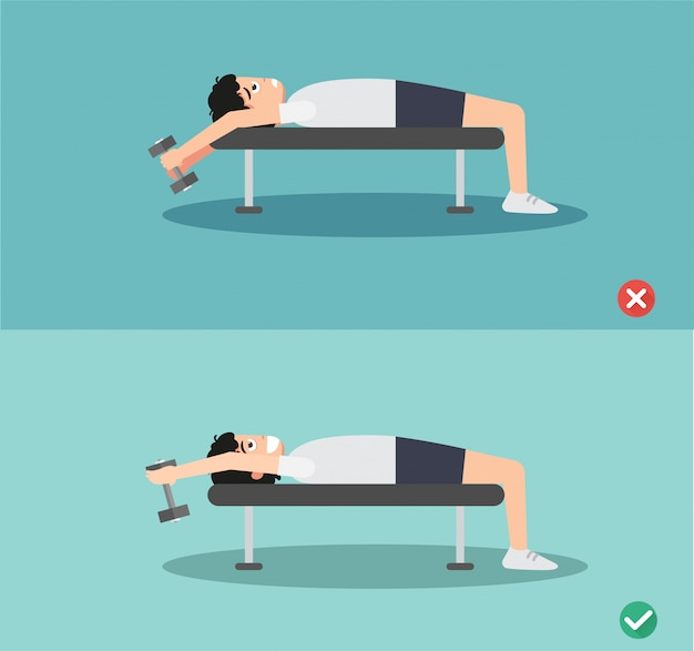 Woman wrong and right bench press  posture
