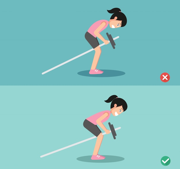 Woman wrong and right bent over row posture
