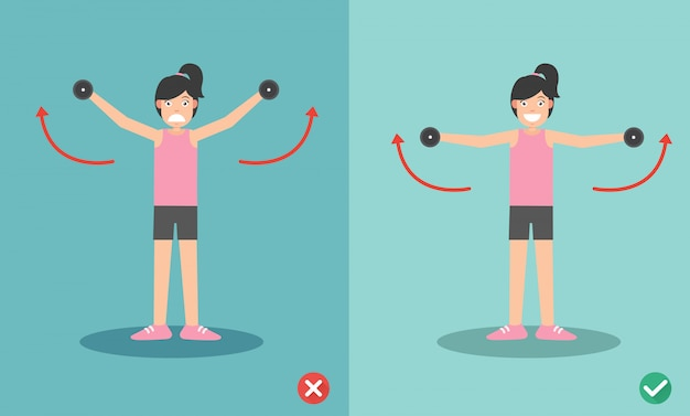 Woman wrong and right dumbbell lateral raise posture