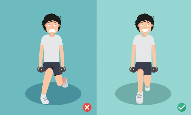 Woman wrong and right dumbbell lunge posture