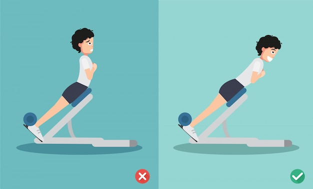 Woman wrong and right extension posture