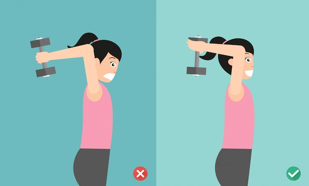 Woman wrong and right overhead dumbbell posture
