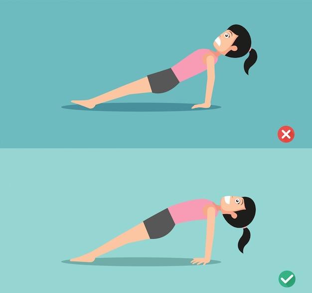 Woman wrong and right upward plank pose