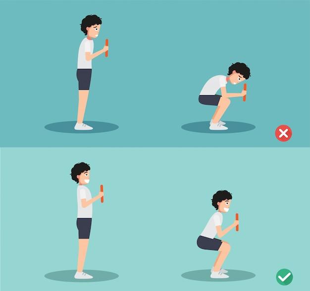 Woman wrong and squat posture