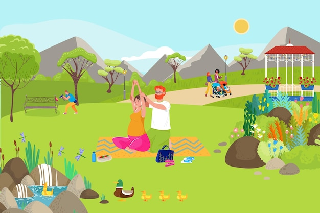 Woman yoga activity with family illustration