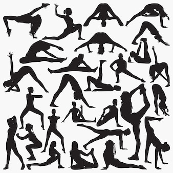 Woman yoga exercise silhouettes