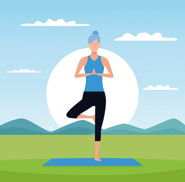 Woman in yoga poses