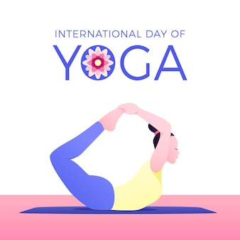 Woman in yoga position international day