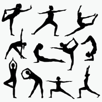 Woman yoga silhouettes