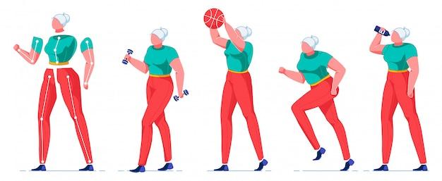 健康的なライフスタイル、活動を持つ老woman。