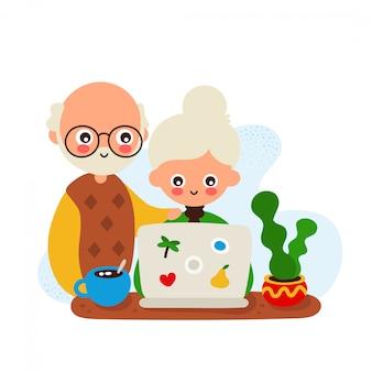 かわいい幸せな笑みを浮かべて老womanとラップトップを持つ男
