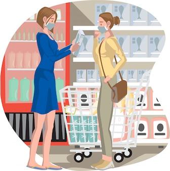 女性は食料品店で一緒に商品を選んでいます