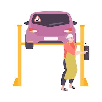 L'auto della donna sull'ascensore e il meccanico felice all'officina riparazioni flat