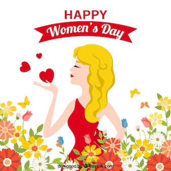 Womans day background with blonde woman