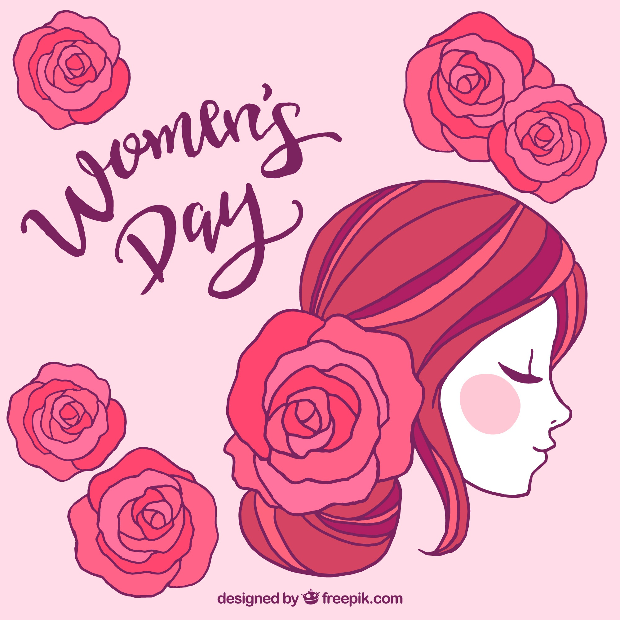 Womans day design with side view of face