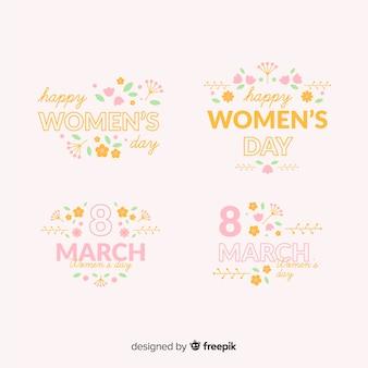 Collezione di etichette di giorno di womans