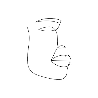 여자 얼굴 연속 선 그리기 여성 실루엣 추상화의 한 라인 아트