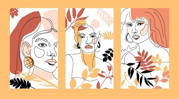 Womans face minimal line style ol-line drawing. abstract contemporary autumn color collage of geometric shapes in a modern trendy style. female portrait.