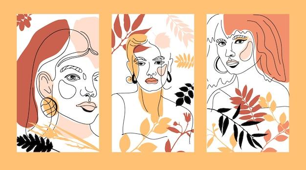 여자 얼굴 최소한의 선 스타일 ol- 선 그리기. 현대 유행 스타일에 기하학적 도형의 추상적 인 현대 가을 컬러 콜라주. 여성 초상화.