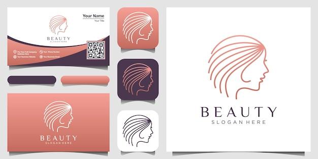 미용실과 스파를 위한 라인 아트 스타일 로고와 명함 디자인 컨셉이 있는 여성의 얼굴