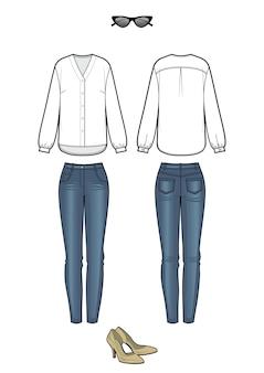 블라우스와 청바지로 여성 패션 룩