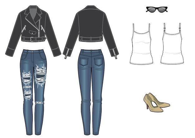 Женский модный образ с кожаной курткой и джинсами