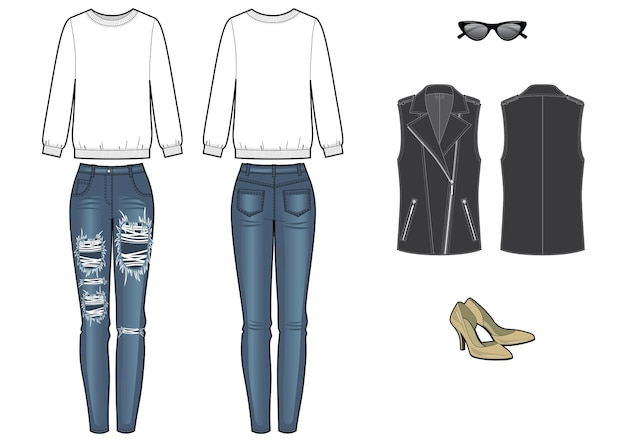 Женский модный образ с толстовкой и джинсами