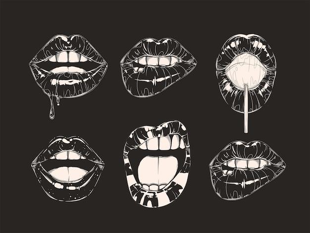 Набор жестов губ женщины черно-белые девушки рты крупным планом разные эмоции вектор