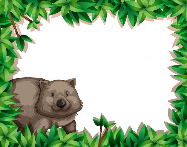 Wombat on nature frame