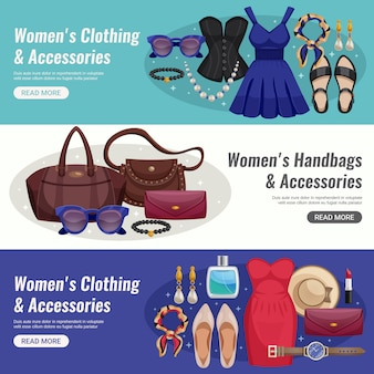 Women accessories horizontal banner set
