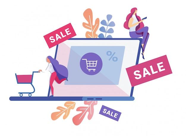 가제트를 통해 온라인으로 적극적으로 쇼핑하는 여성 프리미엄 벡터
