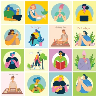 여성 활동 배경. 플랫 스타일의 요가, 요리, 독서 및 작업 개념을하는 여성