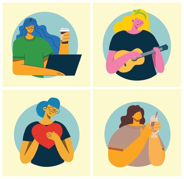 여성 활동 배경. 커피를 마시고, 우쿨렐레를 연주하고, 플랫 스타일로 마음을 잡고 개념을 작업하는 여성