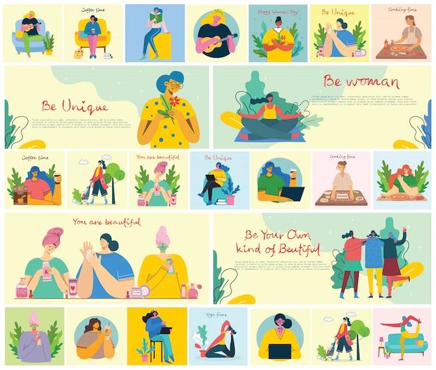 여성 활동 배경. 평면 스타일의 여성 원예, 독서 및 작업 개념