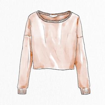 여성용 스웨터 벡터 손으로 그린 패션 요소