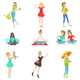 女性と女の子のさまざまなライフスタイルの活動コレクション