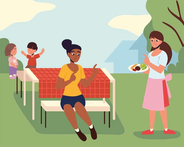 Женщины и дети на заднем дворе