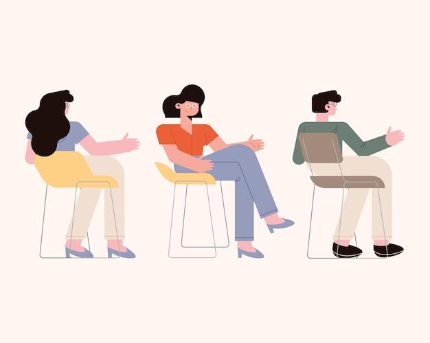 흰색 바탕에 의자에 여자와 남자 만화