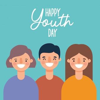 Женщины и мужчины мультфильмы улыбаются счастливого дня молодежи