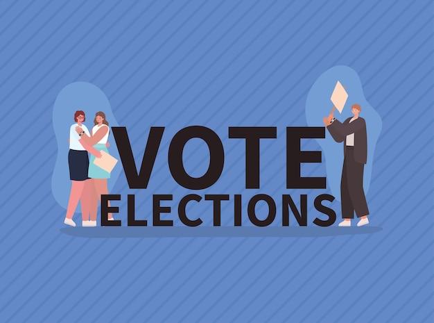 Мультяшные женщины и мужчины с дизайном избирательных плакатов, голосование в день выборов