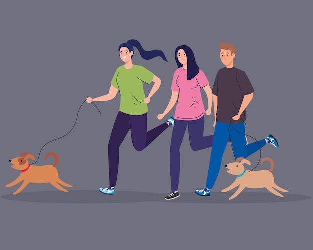 犬と一緒に走る女性と男性のデザイン、アウトドアアクティビティのテーマ。