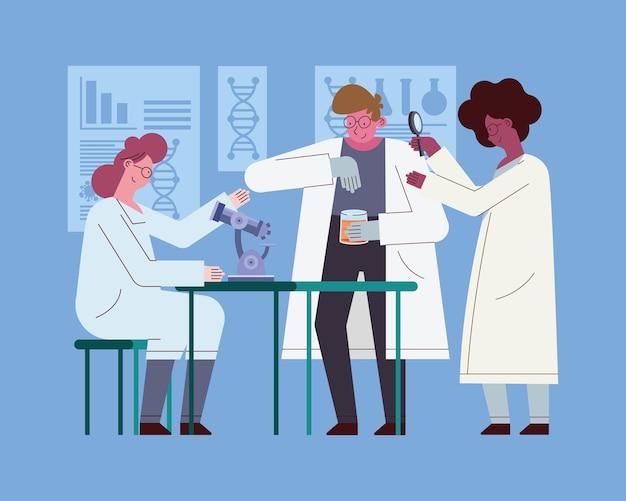 Женщины и мужчины-ученые с инструментами