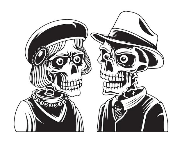 女性と男性の頭蓋骨の肖像画