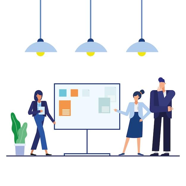 사무실 디자인, 비즈니스 개체 인력 및 기업 테마에 보드가있는 여성과 남성
