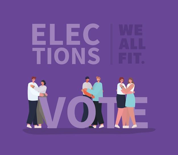 女性と男性の漫画のカップルがデザイン、投票選挙の日、政府のテーマを抱いています。