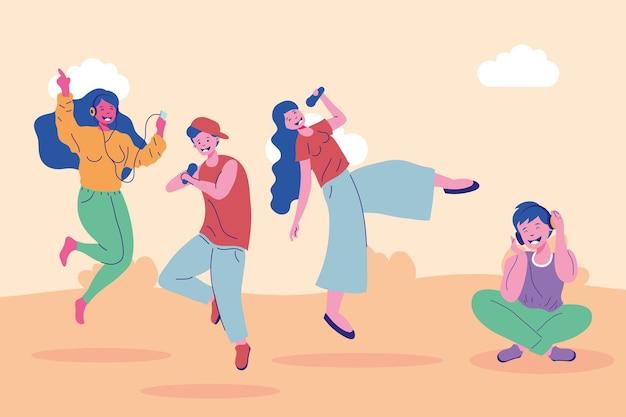 풍경에서 여성과 남성 만화 그룹