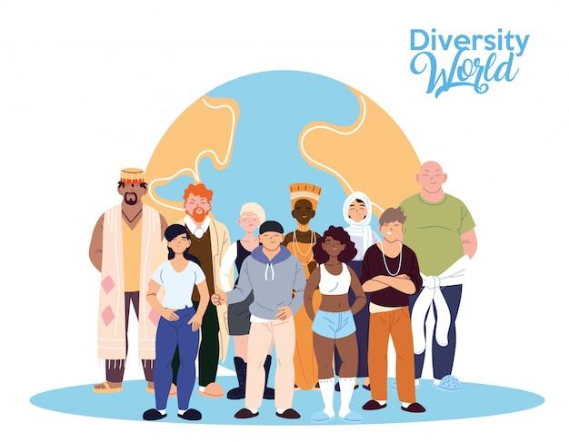 世界のデザイン、文化、友情の多様性をテーマにした女性と男性の漫画