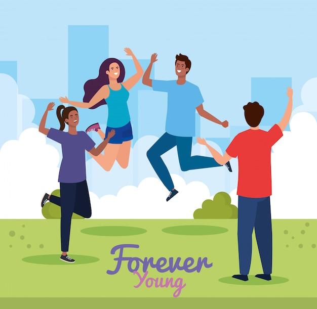 永遠に若い公園でジャンプする女性と男性の漫画