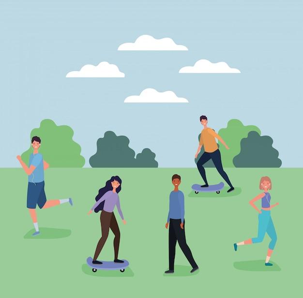 Мультфильмы женщин и мужчин бегают и на скейтборде в парке векторных дизайн