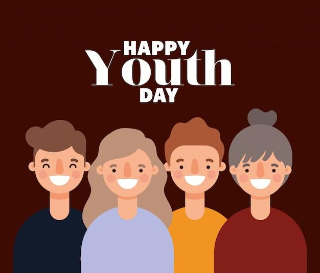 Женские и мужские мультики улыбались счастливого дня молодежи